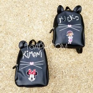 Personalized Kitty Mini Black Backpack